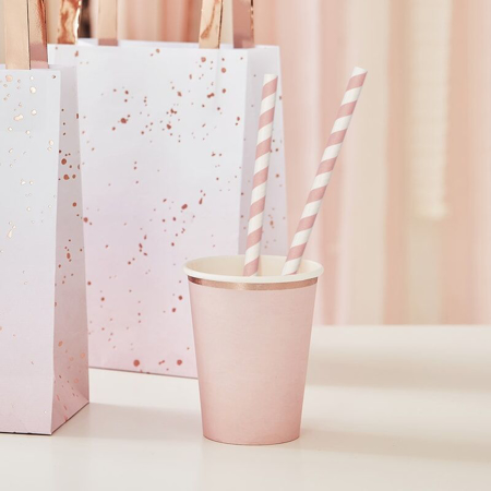 Slika Ginger Ray® Papirnate slamice Pink Stripe 20 kosov
