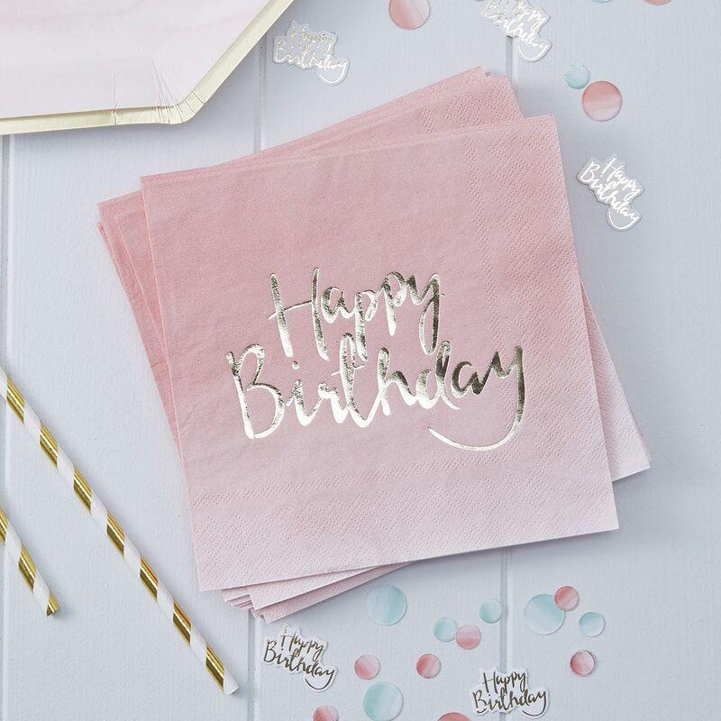 Ginger Ray® Papirnate serviete Pink Ombre Happy Birthday 20 kosov