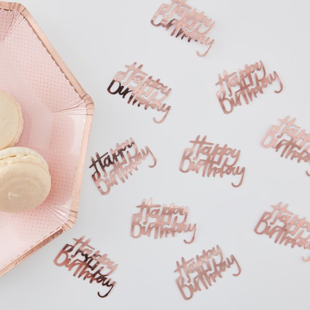 Ginger Ray® Namizni okrasni konfeti Rose Gold Happy Birthday