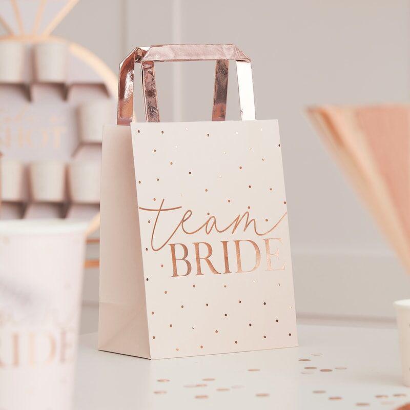 Ginger Ray® Darilne vrečke Rose Gold Team Bride 5 kosov