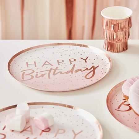 Slika Ginger Ray® Papirnati krožniki Rose Gold Happy Birthday 8 kosov