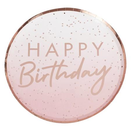 Ginger Ray® Papirnati krožniki Rose Gold Happy Birthday 8 kosov
