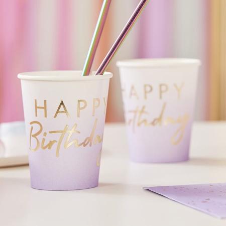 Slika Ginger Ray® Papirnati kozarčki Happy Birthday Ombre Gold 8 kosov