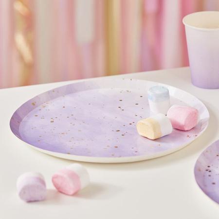 Slika Ginger Ray® Papirnati krožniki Gold Lilac Watercolour 8 kosov
