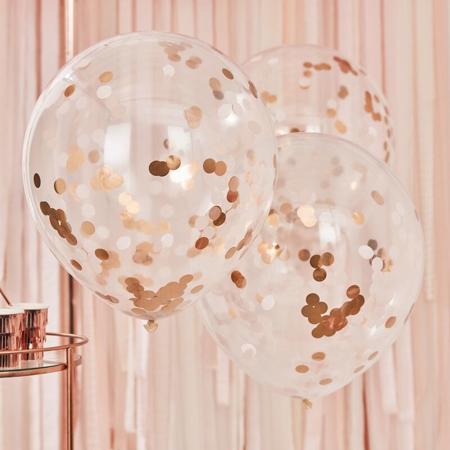 Slika Ginger Ray® Veliki baloni s konfeti Rose Gold 3 kosi