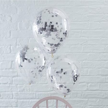 Slika Ginger Ray® Baloni s konfeti Silver 5 kosov