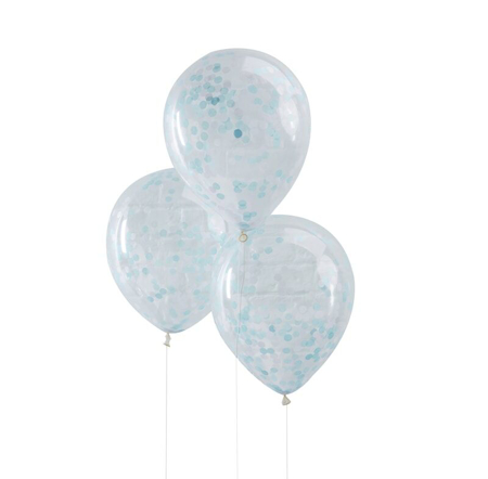 Slika Ginger Ray® Baloni s konfeti Blue 5 kosov