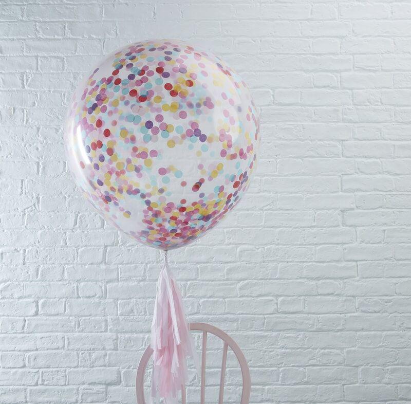 Ginger Ray® Veliki baloni s konfeti Multicoloured 3 kosi