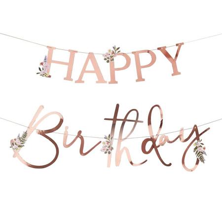 Ginger Ray® Viseč napis Happy Birthday Floral Rose Gold