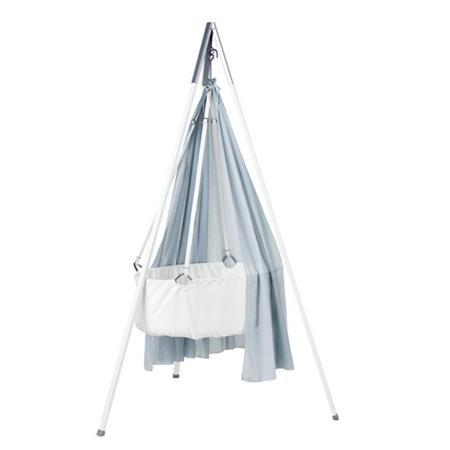 Slika Leander® Otroška viseča zibelka s stojalom White + GRATIS Baldahin BLUE