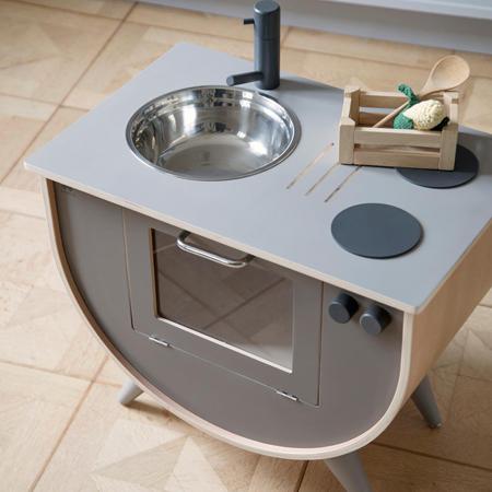 Sebra® Lesena otroška kuhinja Warm Grey
