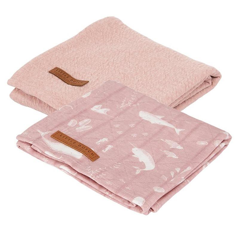 Little Dutch® Komplet 2 tetra pleničk Ocean Pink 70x70