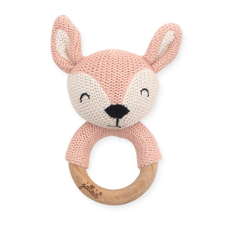 Slika Jollein® Leseni obroček za grizenje Deer Pale Pink