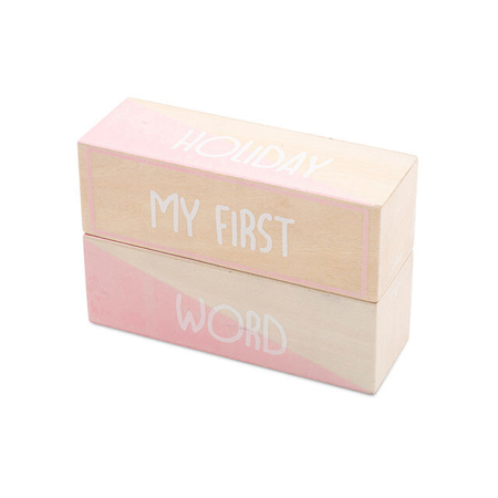 Slika Jollein® Leseni bloki My first moments Pink/White