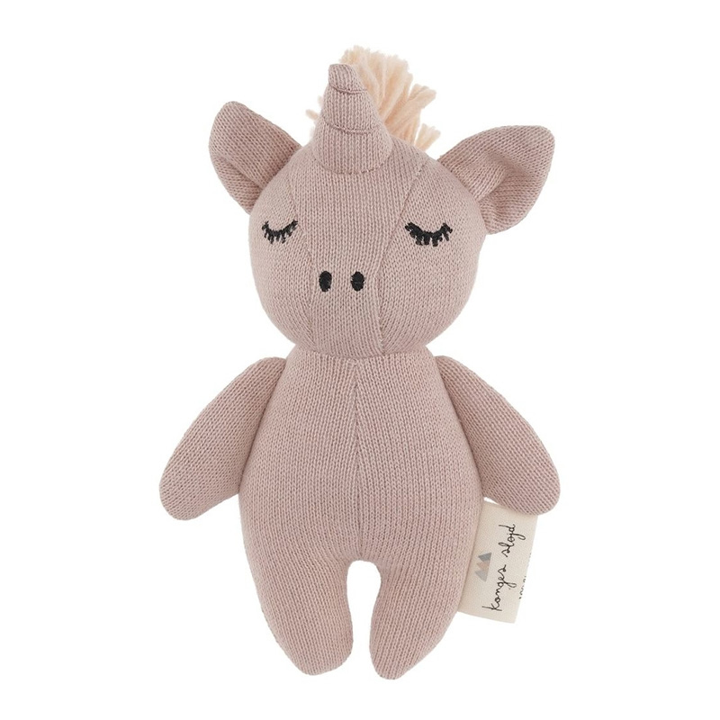 Konges Sløjd® Igračka z ropotuljico Mini Unicorn Rose Fawn