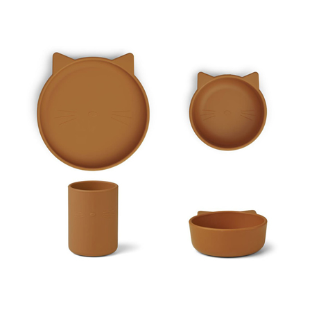 Liewood® Jedilni set iz silikona Cyrus Junior Cat Mustard