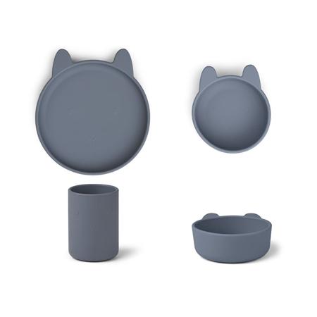 Slika Liewood® Jedilni set iz silikona Cyrus Junior Rabbit Blue Wave