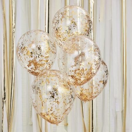Slika Ginger Ray® Baloni s konfeti Gold 5 kosov