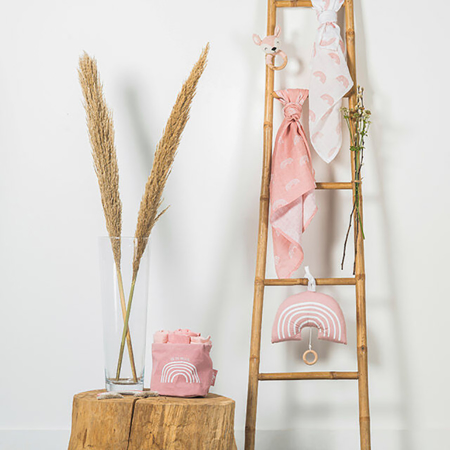 Jollein® Košara za shranjevanje Canvas Rainbow Blush Pink