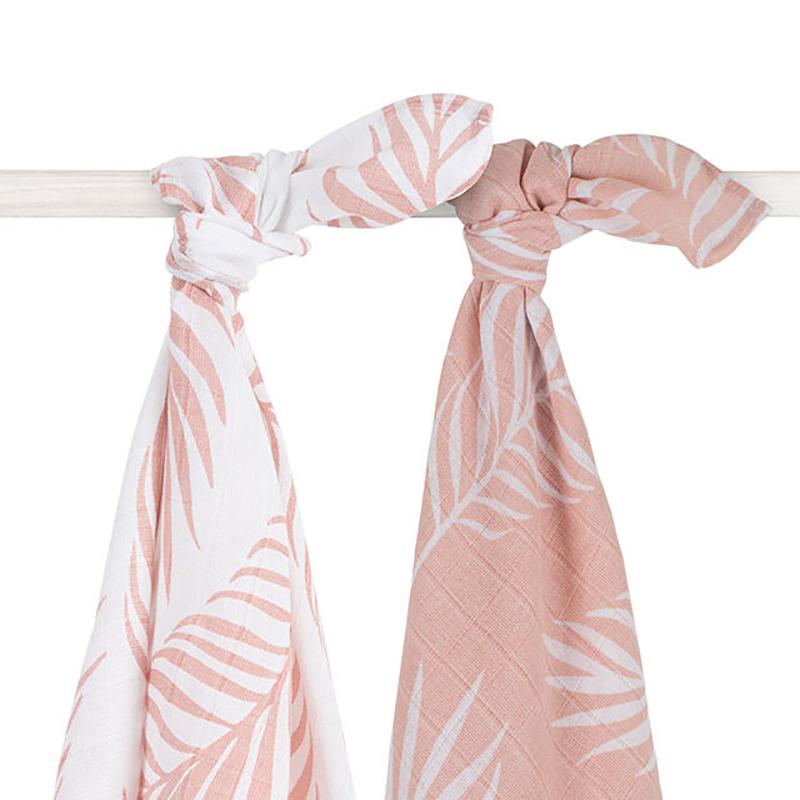 Jollein® Komplet dveh tetra pleničk Nature Pale Pink 115x115