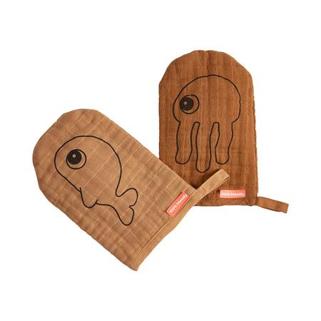 Slika Done by Deer® Komplet dveh rokavic za nego Mustard