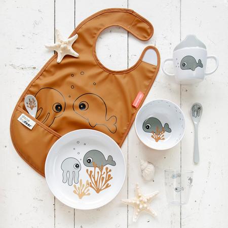 Done by Deer® Skodelica za učenje pitja Sea friends Mustard/Grey