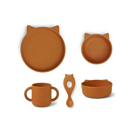 Liewood® Jedilni set iz silikona Vivi Cat Mustard