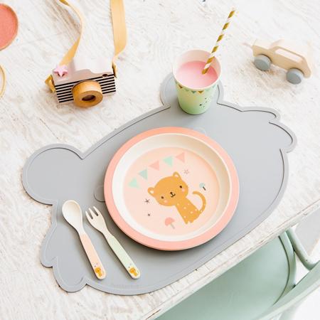 Petit Monkey® Otroški pribor iz bambusa Leopard Peach