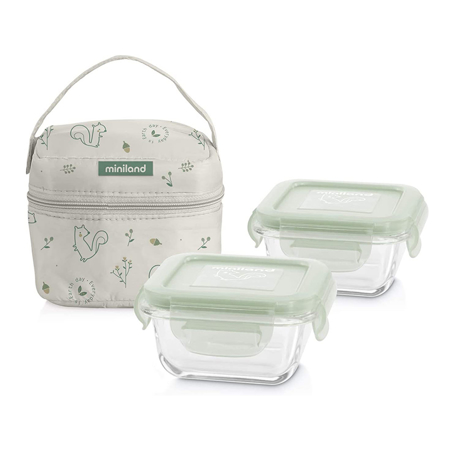 Slika Miniland® Set dveh posodic s termo torbo 160ml Natur Square Chip