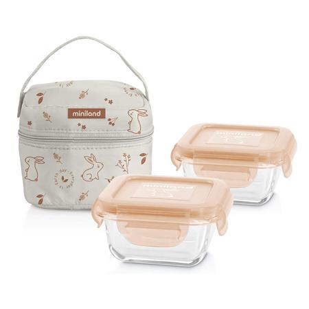 Slika Miniland® Set dveh posodic s termo torbo 160ml Natur Square Bunny