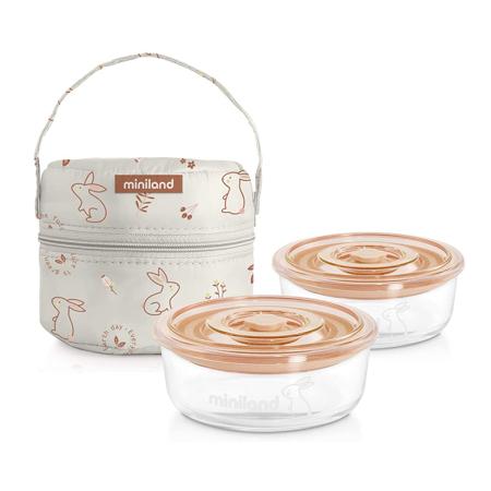 Slika Miniland® Set dveh posodic s termo torbo 200ml Natur Round Bunny