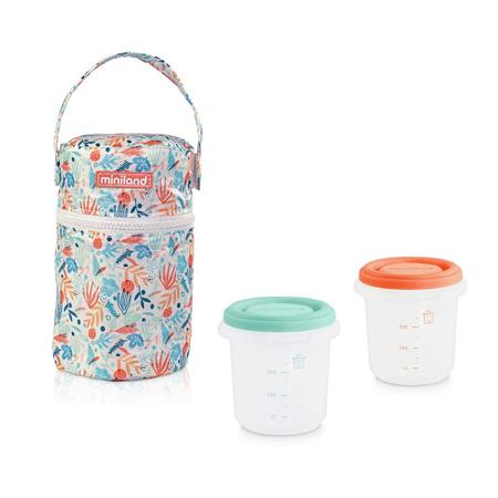 Slika Miniland® Set dveh posodic s termo torbo 250ml Mediterra