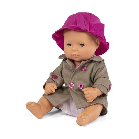 Slika Miniland® Punčka z obleko Mild Weather Hat Set 32cm
