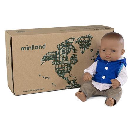 Miniland® Dojenček z obleko Mild Weather Hat Set Navy 32cm