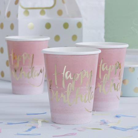 Slika Ginger Ray® Papirnati kozarčki Happy Birthday Ombre Pink 8 kosov