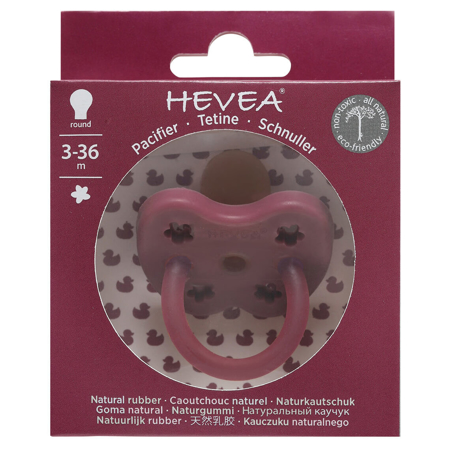 Slika Hevea® Ortodontska duda iz kavčuka Colourful (3-36m) Ruby