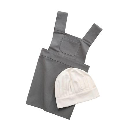 Slika Sebra® Otroški predpasnik in klobuk Elephant Grey/Classic White