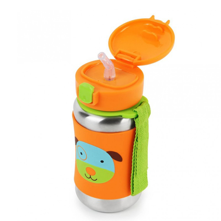 Skip Hop® Steklenička iz nerjavečega jekla s slamico Kužek