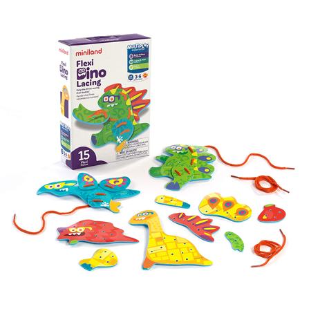 Slika Miniland® Set za šivanje Flexi Dino Lacing