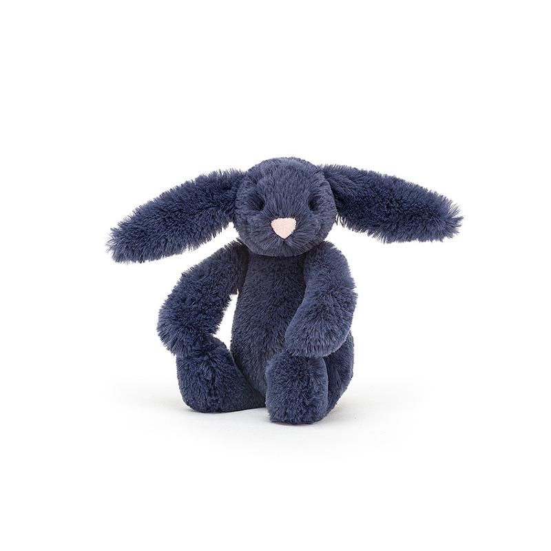 Jellycat® Plišasti zajček Bashful Navy Baby 13cm