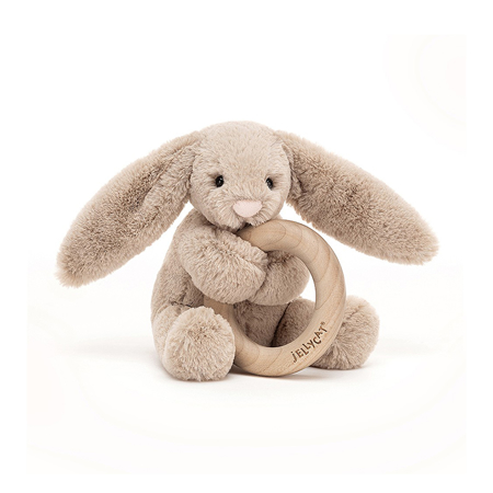 Slika Jellycat® Plišasti zajček z lesenim obročem Bashful Beige 13cm