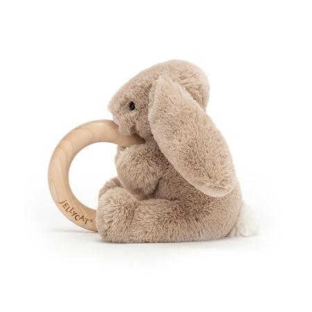 Jellycat® Plišasti zajček z lesenim obročem Bashful Beige 13cm