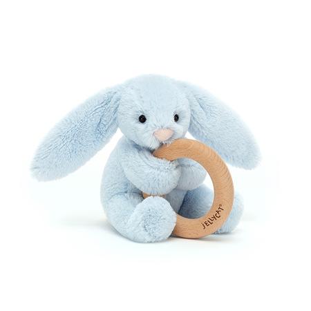 Slika Jellycat® Plišasti zajček z lesenim obročem Bashful Blue 13cm