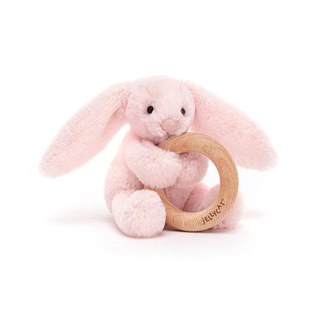 Jellycat® Plišasti zajček z lesenim obročem Bashful Pink 13cm
