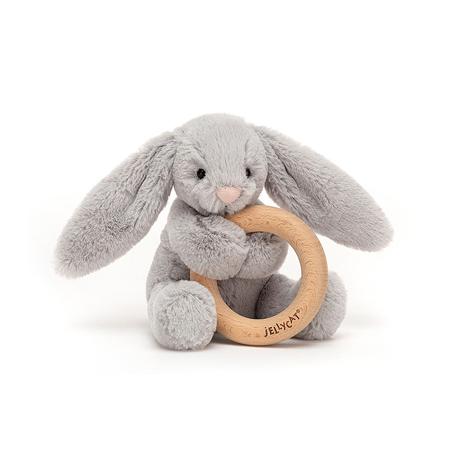 Slika Jellycat® Plišasti zajček z lesenim obročem Bashful Silver 13cm