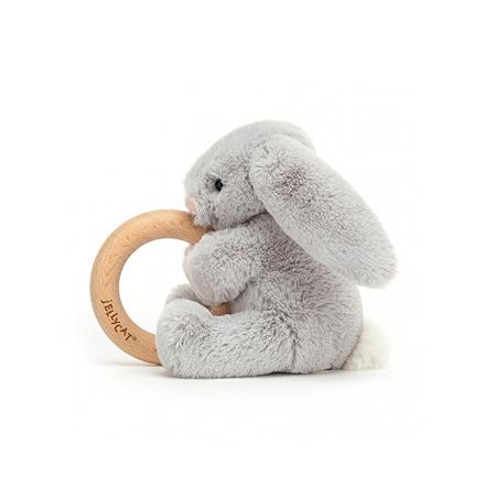 Jellycat® Plišasti zajček z lesenim obročem Bashful Silver 13cm