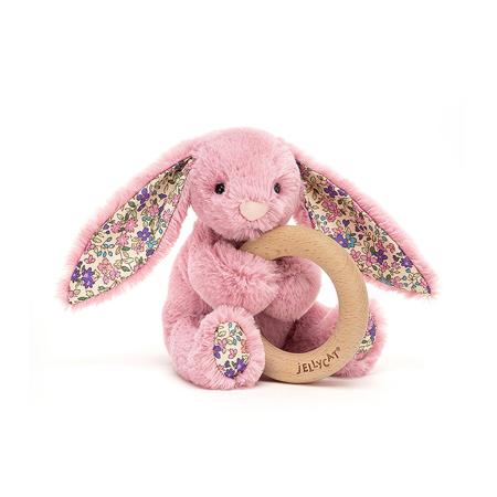 Slika Jellycat® Plišasti zajček z lesenim obročem Blossom Tulip 13cm