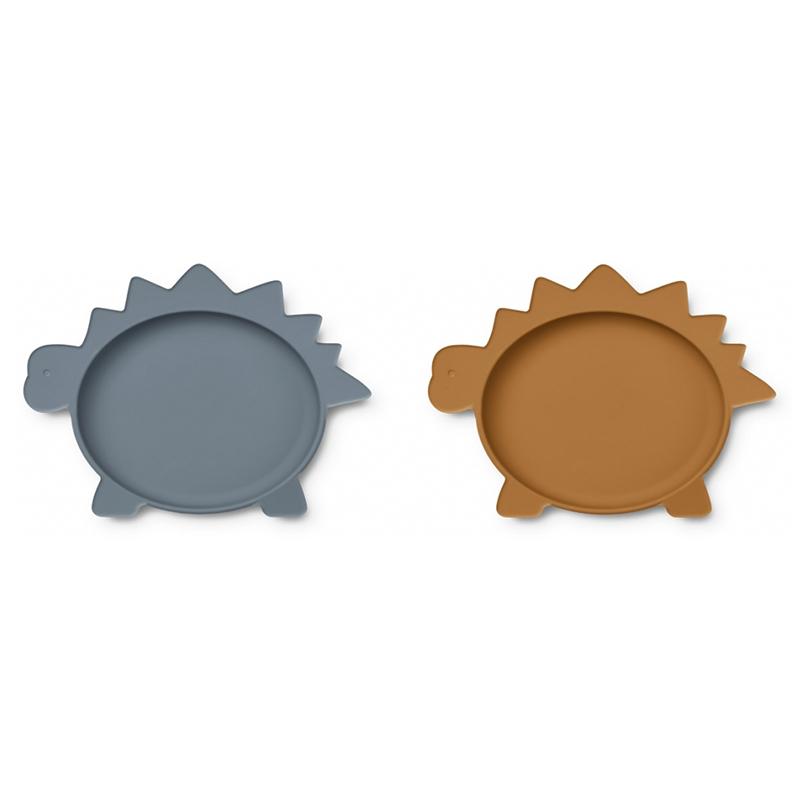 Liewood® Komplet 2 silikonskih krožnikov Olivia Dino Blue Wave/Mustard Mix