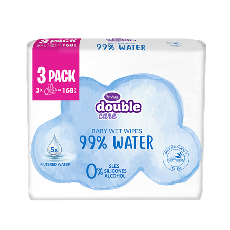 Slika Violeta® Otroški vlažni robčki Water Care 3x56/1