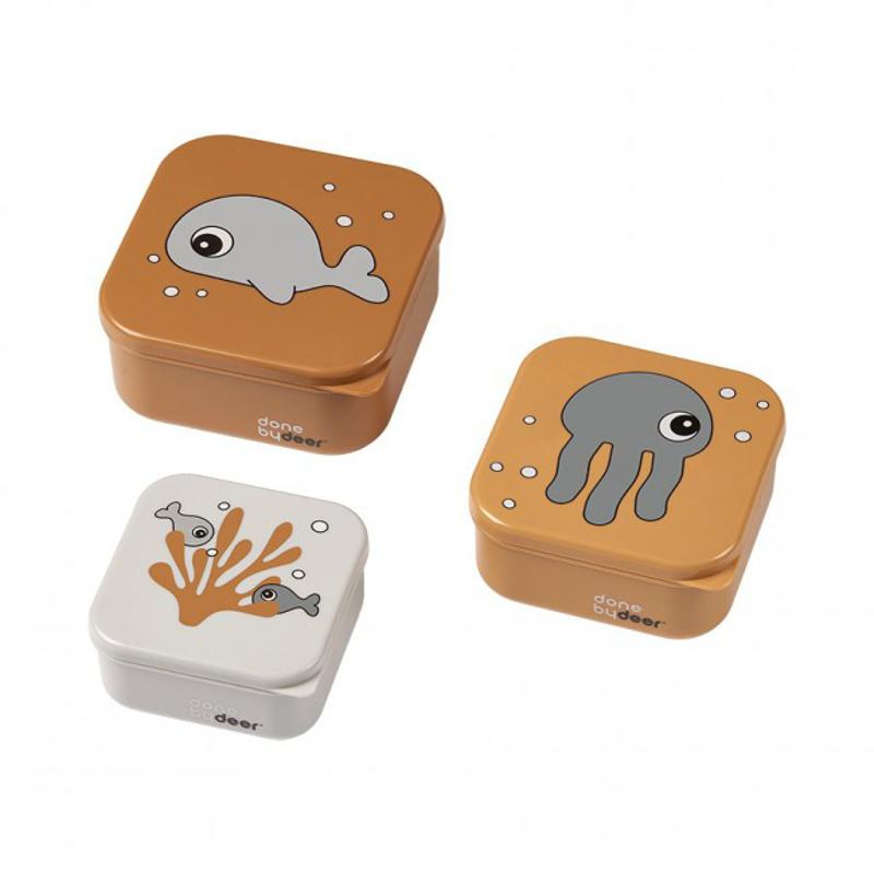 Done by Deer® Škatlice za prigrizke Sea friends Mustard/Grey